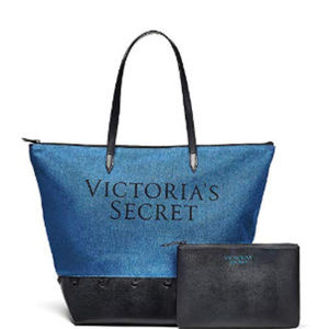 VS Carryall Travel Tote Bag & Pouch Denim NWOT